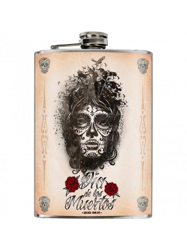 Jack's Inn 54, Dia De Los Muertos flask