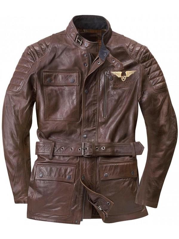 Black-Café leather jacket KERMAN
